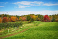 Autumn country in New England apple orchard Royalty Free Stock Photo