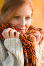 Autumn country sunset - long red hair woman Royalty Free Stock Photo