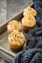 Autumn cupcakes on wooden tray Royalty Free Stock Photo