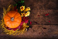 Autumn decoration pumpkin with flowers on wood board pictured from above Stock Image