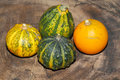 Autumn decoration pumpkin gourd on a wooden board Stock Photography