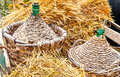 Autumn demijohn wicker Royalty Free Stock Photo