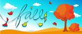 Autumn design banner with orange tree- vector Royalty Free Stock Photo