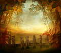 Autumn design forest with wood fence fall art landscape pastel colors in woods Stock Photos