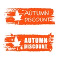 Autumn discount drawn banner with fall leaf orange text and business concept Stock Image