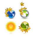 Autumn Earth icons Royalty Free Stock Photo