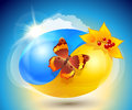 Autumn. Eco-icon with nature yin-yang Stock Photography