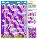 Autumn evening or Halloween 3d maze game with stairs and ladders Royalty Free Stock Photo