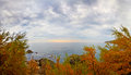 Autumn evening seascape alupka crimea Royalty Free Stock Photo
