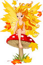 Autumn Fairy on the Mushroom Royalty Free Stock Photo