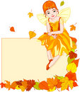 Autumn fairy place card Royalty Free Stock Image