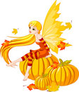 Autumn Fairy on the Pumpkin Stock Photo