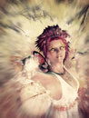 Autumn fairy spirit beautiful on colorful grunge background Royalty Free Stock Photo