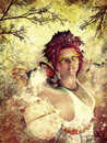 Autumn fairy spirit beautiful on colorful grunge background Royalty Free Stock Image