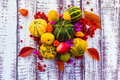 Autumn fall background table setting background vegetables fruit on the wooden with fruits and Stock Photography