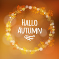 Autumn, fall background with wreath, made of leaves, lights,