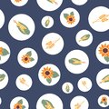 Autumn, fall, harvesting, crop background. Polka dots with corn, sunflowers, wheat plants seamless repeating vector Royalty Free Stock Photo