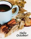 Autumn, fall leaves, hot steaming cup of glint wine Royalty Free Stock Photo