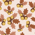 Autumn/fall oak leaves and acorns seamless pattern Royalty Free Stock Photo