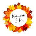 Autumn fall sale banner with colorful leaves. Modern polygonal design.   illustration. Royalty Free Stock Photo