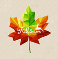 Autumn fall season text triangle leaf shape eps file backgroun and deer over colorful geometric vector with transparency for easy Stock Photo