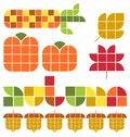 Autumn fall set the title heading in an original alphabet and illustrations of icons including indian corn leaves acorns and Royalty Free Stock Photography