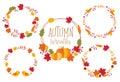 Autumn Fall Wreath Frame Set Vector Illustration
