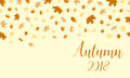 Autumn falling leaves pattern with text Autumn 2018 background.
