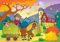 Autumn farm theme eps vector illustration Stock Photography