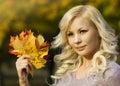 Autumn fashion girl mujer joven hermosa rubia con las hojas de arce amarillas a disposición afuera Fotografía de archivo libre de regalías