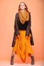 Autumn fashion woman fresh girl eye lashes fall in color in full length long false orange Stock Photography