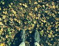 Autumn feet on the leaves Stock Photography