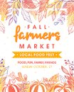 Autumn fermers market banner with leaves and floral elements in fall colors