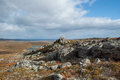 Autumn in the finnish lapland view from a rocky fell a national park Royalty Free Stock Image