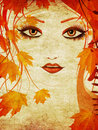 Autumn floral girl grunge portrait of an abstract with maple leaves Royalty Free Stock Photos