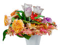 Autumn flower bouquet in vase isolated Stock Image