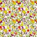 Autumn flowers, butterflies. Ditsy repeating floral pattern. Watercolor Royalty Free Stock Photo