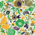 Autumn flowers fruit and insects colourful busy seamless background pattern of berries moths butterflies in shades of green yellow Stock Photo