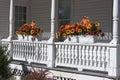 Autumn Flowers on Railing Royalty Free Stock Photo