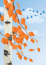 Autumn forest branches of trees and birds flying south Royalty Free Stock Photo