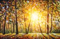 Autumn forest landscape oil painting with sun rays and colorful autumn leaves at tall trees illustration Royalty Free Stock Photo