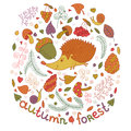 Autumn forest set in vector. Fall collection with hedgehog, leafs, branches, berries, mushrooms etc. in cartoon style