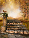 Autumn forest with stone stairs ruined and a squirrel Royalty Free Stock Photography