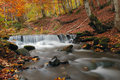 Autumn forest waterfall and rocks with yellow leaves Royalty Free Stock Image