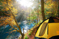 Autumn forest yellow tent travel in the autumn forest beautiful morning misty with sun rays Royalty Free Stock Photo