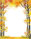 Autumn frame composition with trees on white background Stock Images