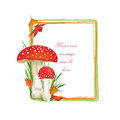 Autumn frame with fall leaves and mushroom isolated on white background circle shape toadstool illustration red amanita poisonous Stock Images