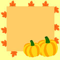 Autumn frame with pumpkins and maple leaves