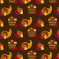 Autumn fruit and cornucopia pattern Royalty Free Stock Photo