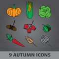 Autumn fruit icons eps and Royalty Free Stock Images